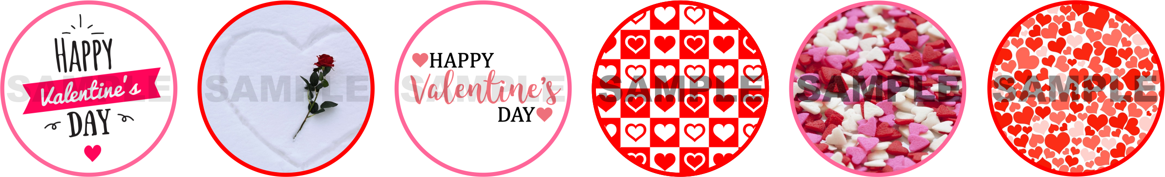 Valentine's Day Circle stickers