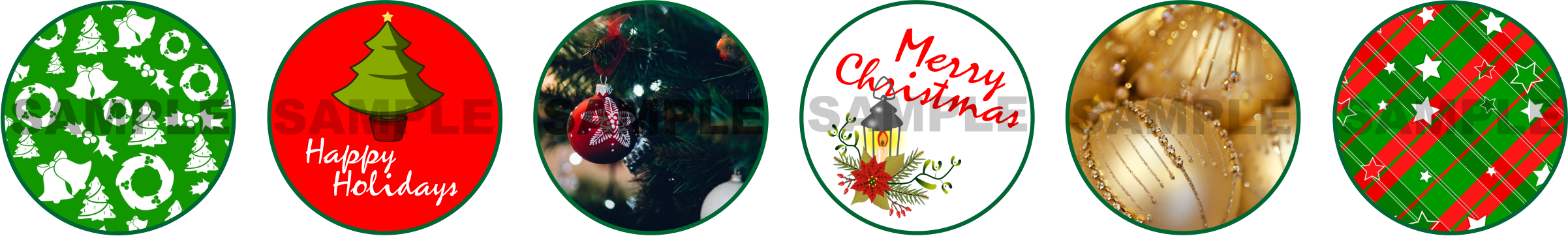 Merry Christmas Circle Stickers for Gifts