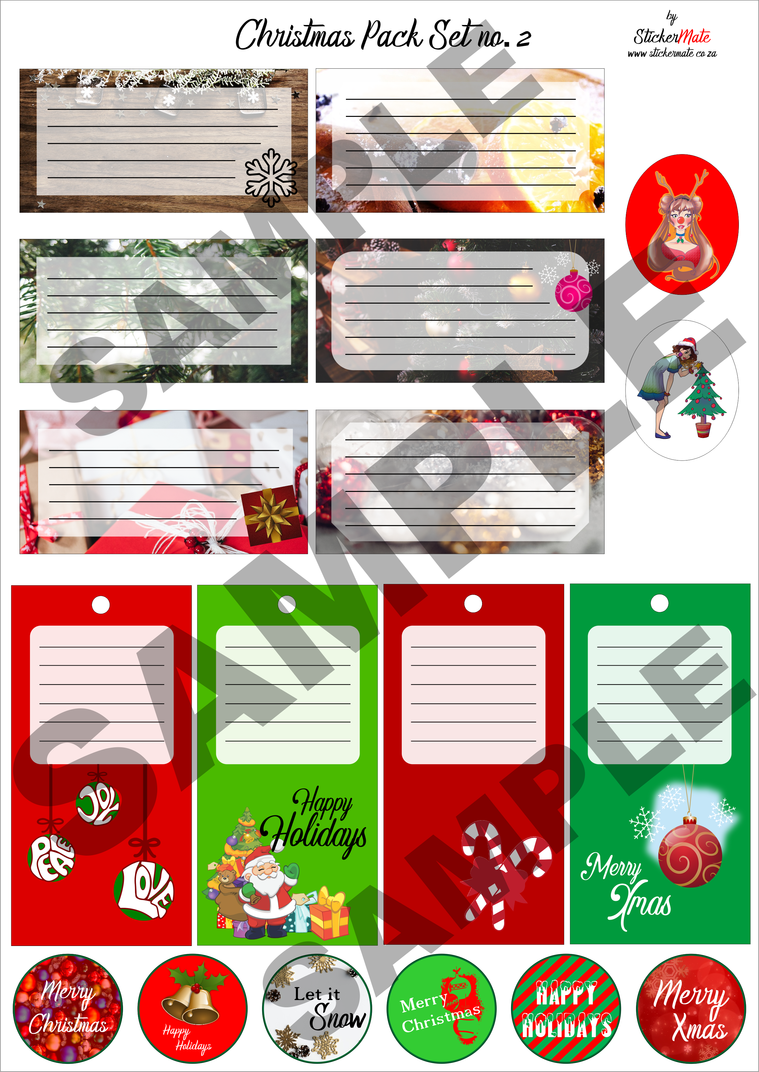 Christmas Stickers Pack for Gifts