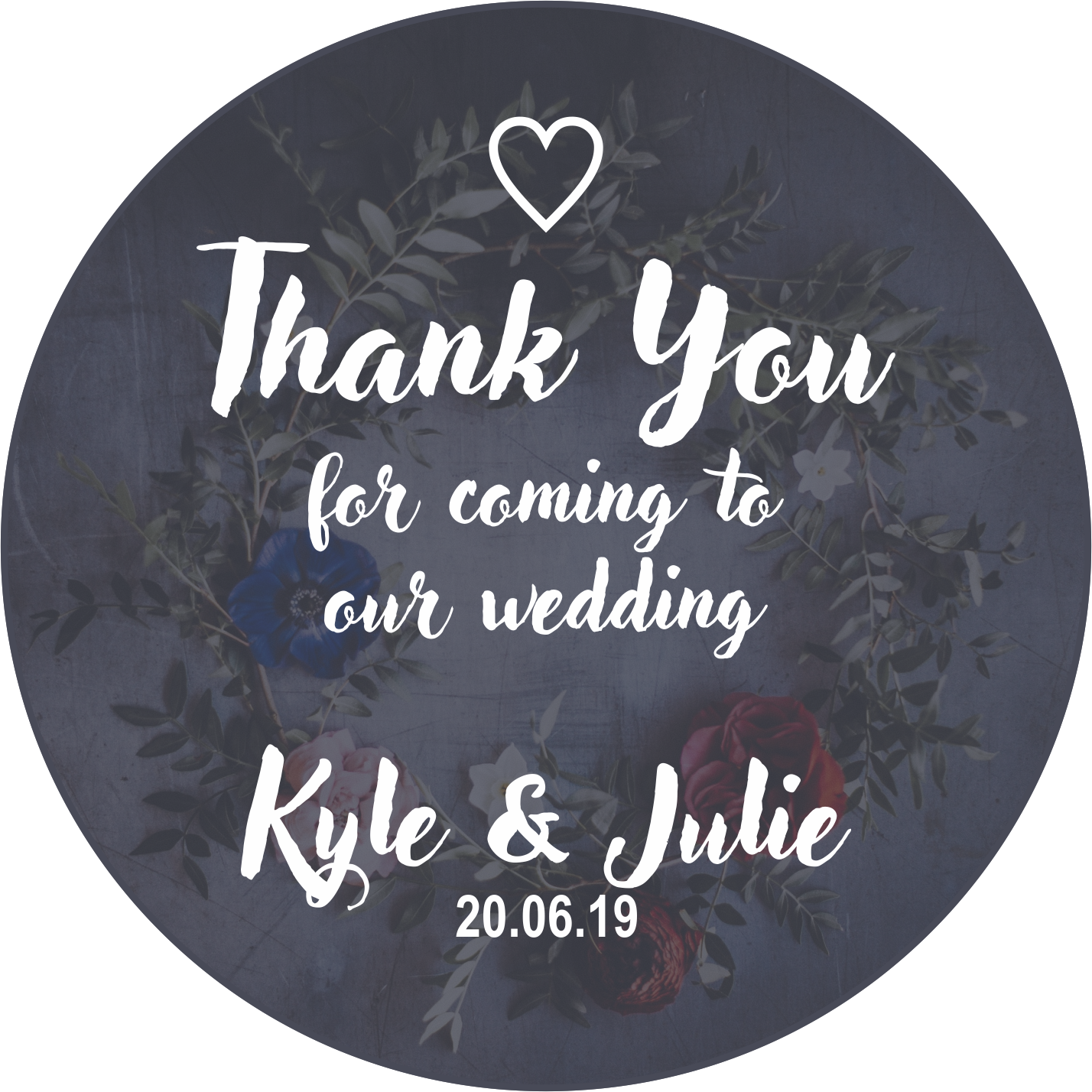 Thank You Wedding Favour Sticker
