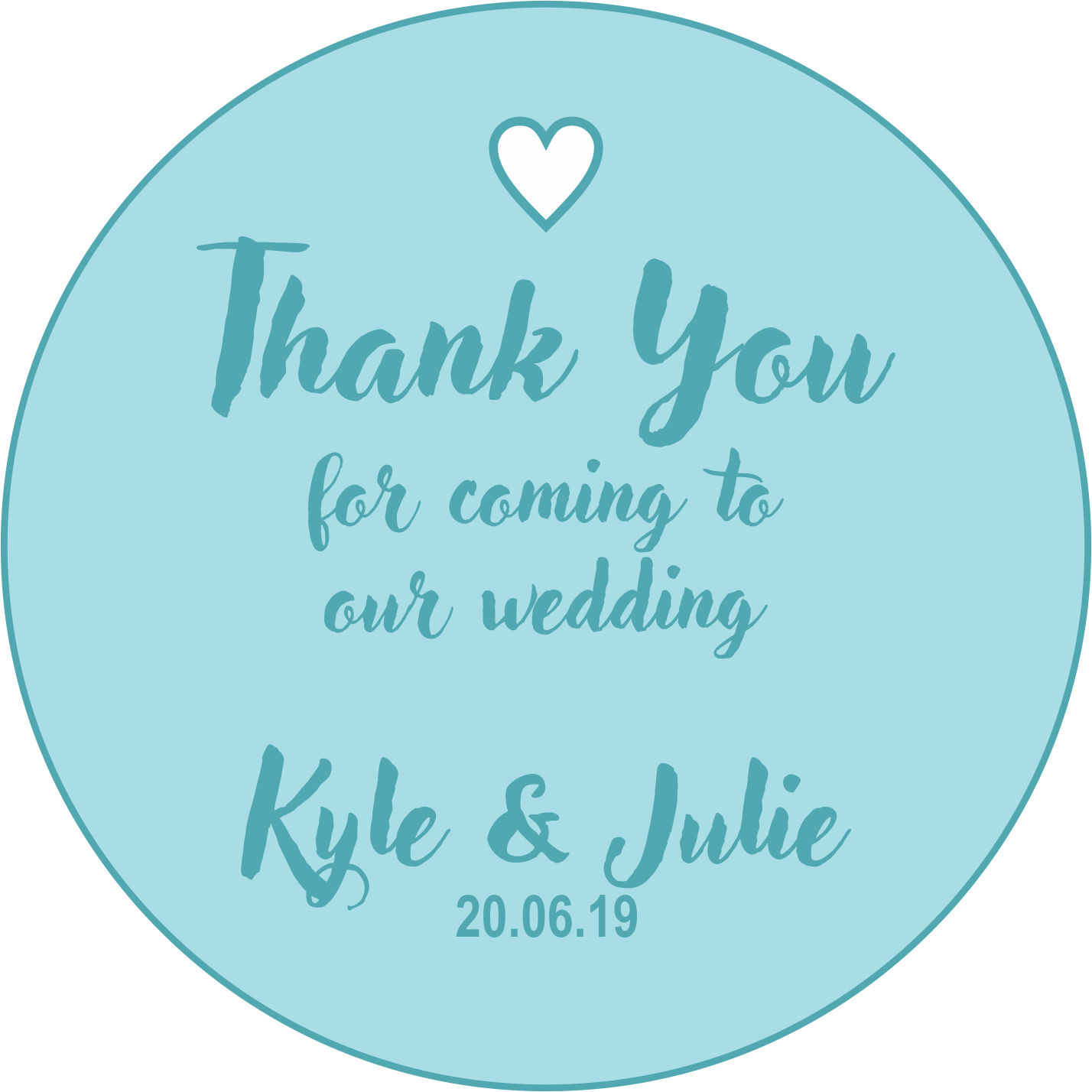 Thank You Wedding Favour Sticker Blue